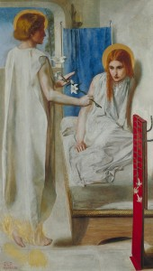 Ecce Ancilla Domini - Christina Rossetti posed as the Virgin Mary for this ANNUNCIATION painting by her brother Dante Gabriel Rossetti